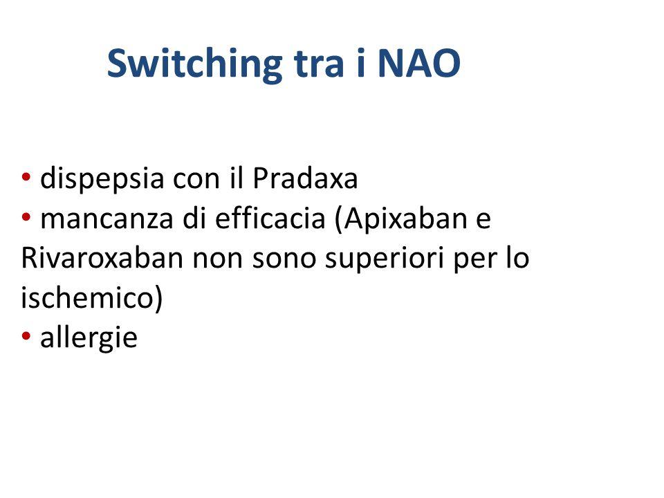 Switching tra i NAO dispepsia con il Pradaxa mancanza di efficacia (Apixaban e Rivaroxaban non sono superiori per lo ischemico) allergie