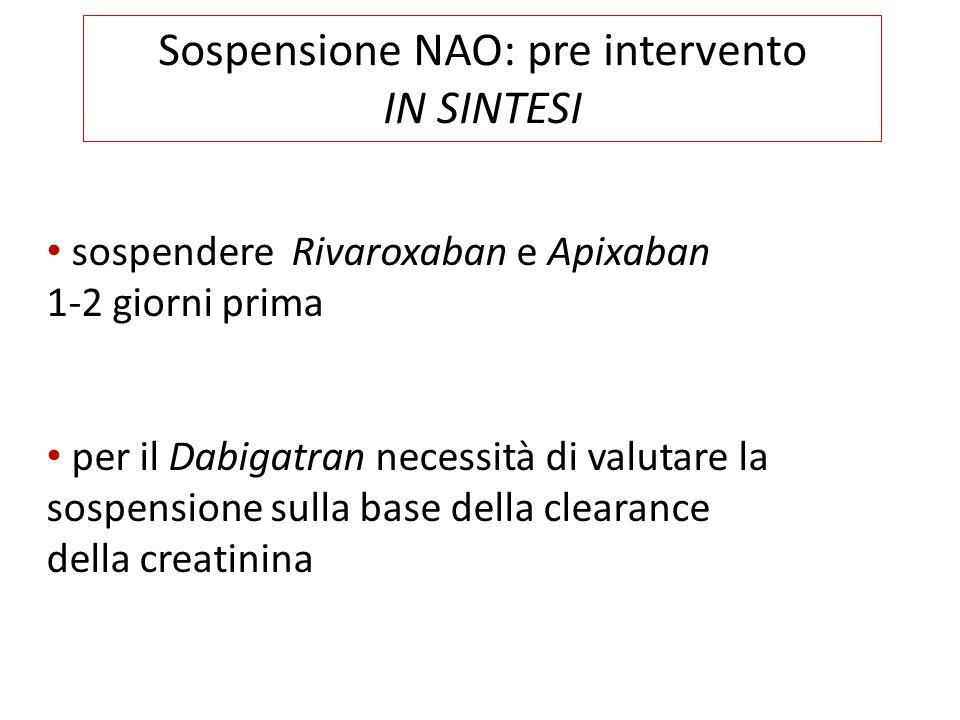 IN SINTESI sospendere Rivaroxaban e Apixaban 1-2 giorni prima per il Dabigatran necessità di valutare la sospensione sulla base della clearance della creatinina