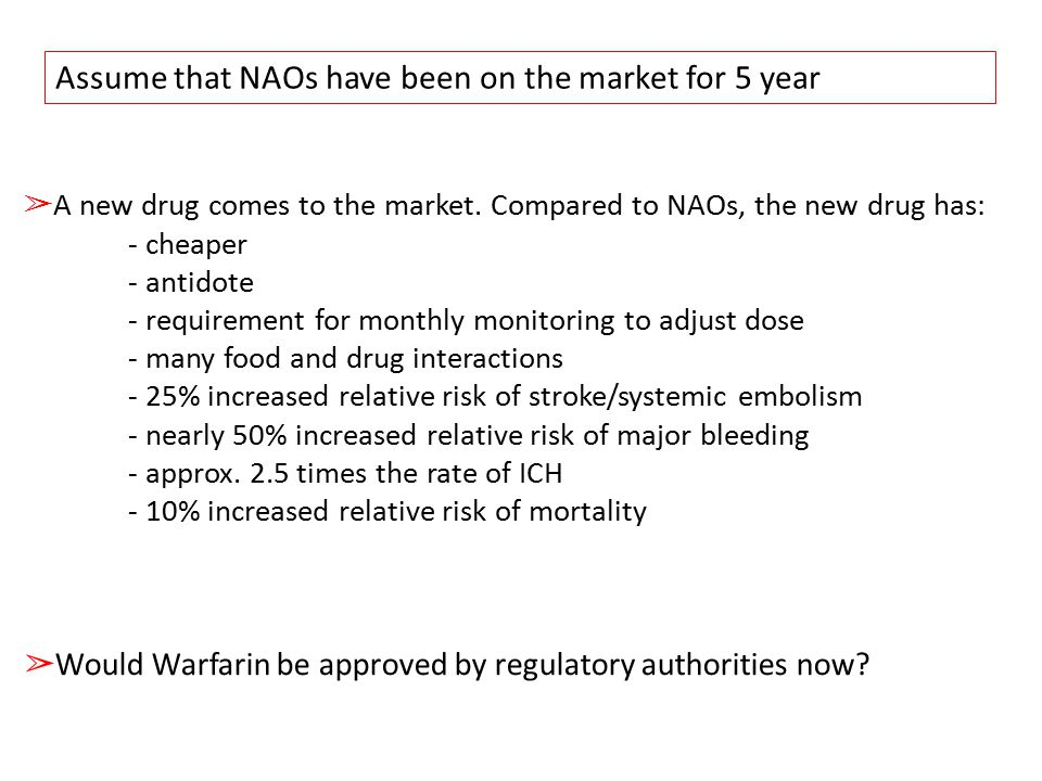 Assume that NAOs have been on the market for 5 year ➢ A new drug comes to the market.