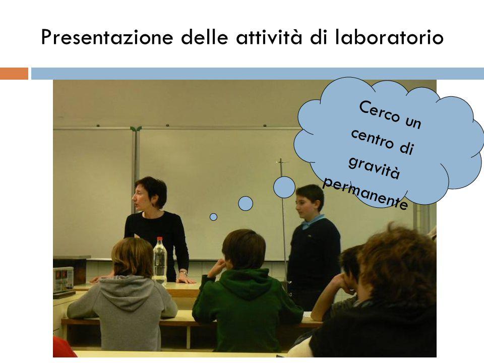 Presentazione delle attività di laboratorio Cerco un centro di gravità permanente