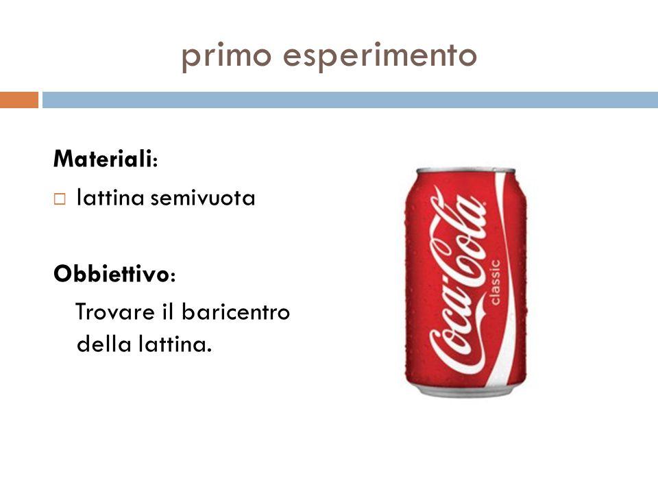 primo esperimento Materiali:  lattina semivuota Obbiettivo: Trovare il baricentro della lattina.