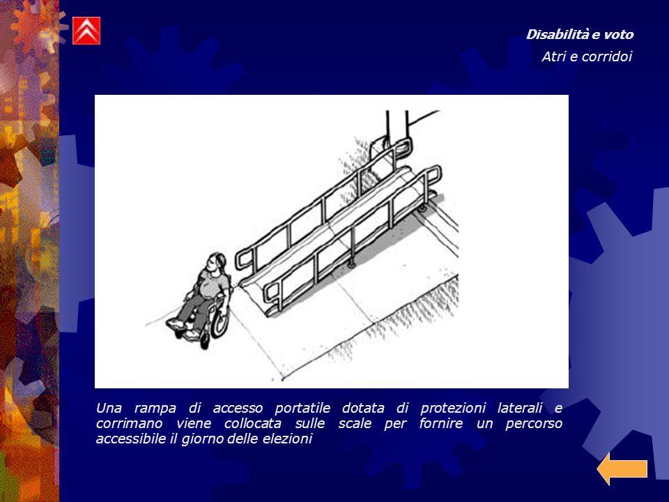 Disabilità e voto Atri e corridoi Una rampa di accesso portatile dotata di protezioni laterali e corrimano viene collocata sulle scale per fornire un