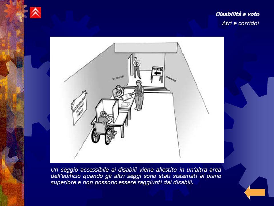Disabilità e voto Atri e corridoi Un seggio accessibile ai disabili viene allestito in un'altra area dell'edificio quando gli altri seggi sono stati s