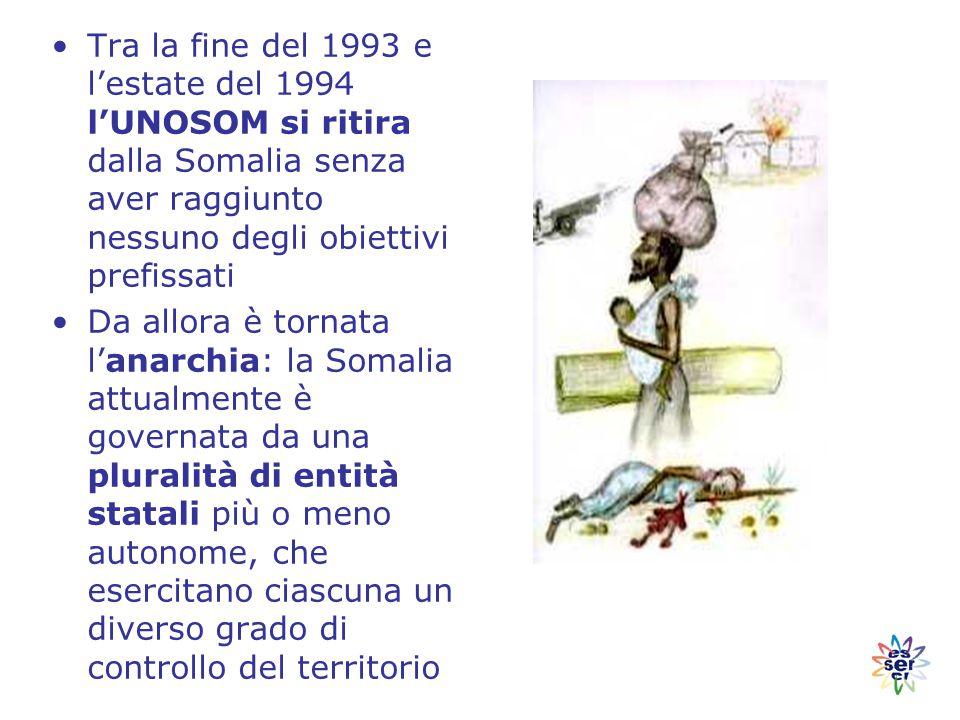 Tra la fine del 1993 e l'estate del 1994 l'UNOSOM si ritira dalla Somalia senza aver raggiunto nessuno degli obiettivi prefissati Da allora è tornata l'anarchia: la Somalia attualmente è governata da una pluralità di entità statali più o meno autonome, che esercitano ciascuna un diverso grado di controllo del territorio