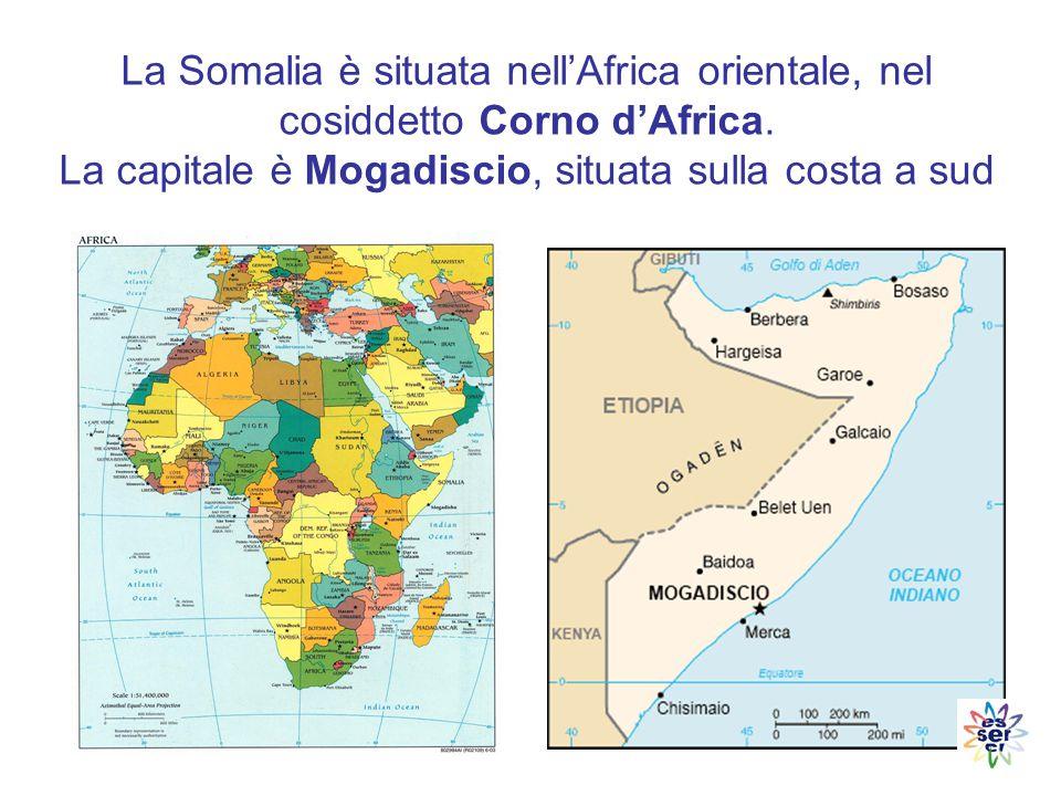 Confina con il Gibuti a nord-ovest, con l Etiopia a ovest e con il Kenya a sud- ovest; si affaccia a nord sul Golfo di Aden e a est sull'Oceano Indiano La sua superficie di 637.660 kmq, è quindi quasi il doppio dell Italia