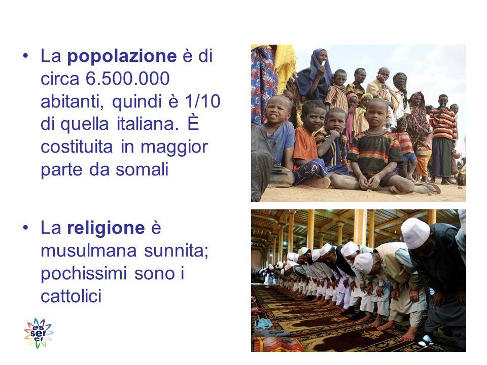 La popolazione è di circa 6.500.000 abitanti, quindi è 1/10 di quella italiana.