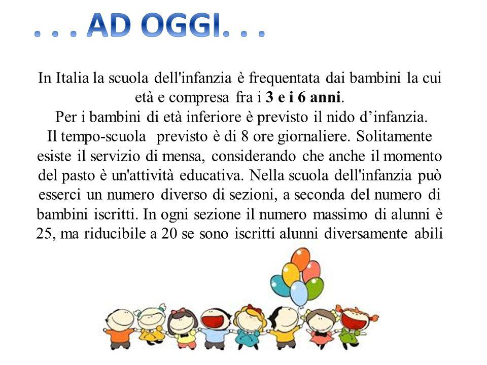 In Italia la scuola dell'infanzia è frequentata dai bambini la cui età e compresa fra i 3 e i 6 anni. Per i bambini di età inferiore è previsto il nid