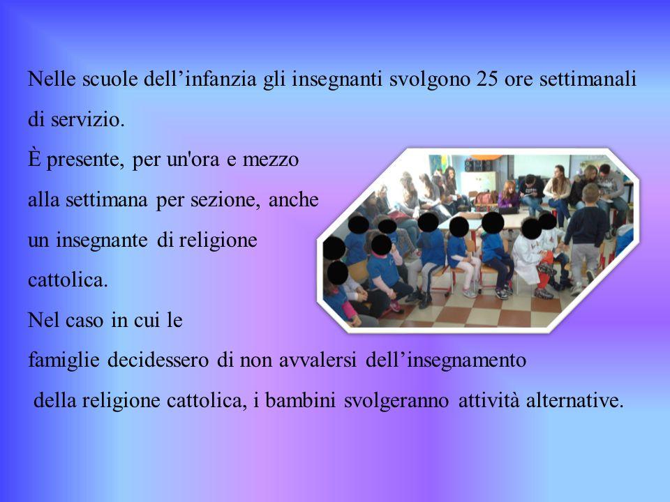 Nelle scuole dell'infanzia gli insegnanti svolgono 25 ore settimanali di servizio. È presente, per un'ora e mezzo alla settimana per sezione, anche un