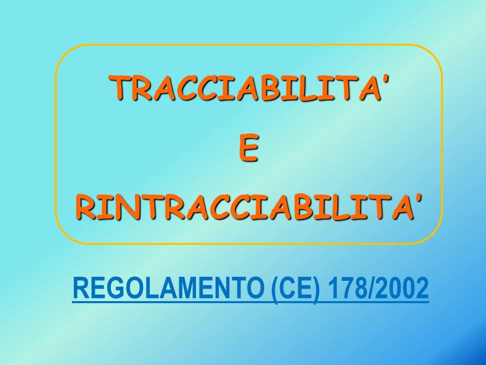 TRACCIABILITA' E RINTRACCIABILITA' REGOLAMENTO (CE) 178/2002
