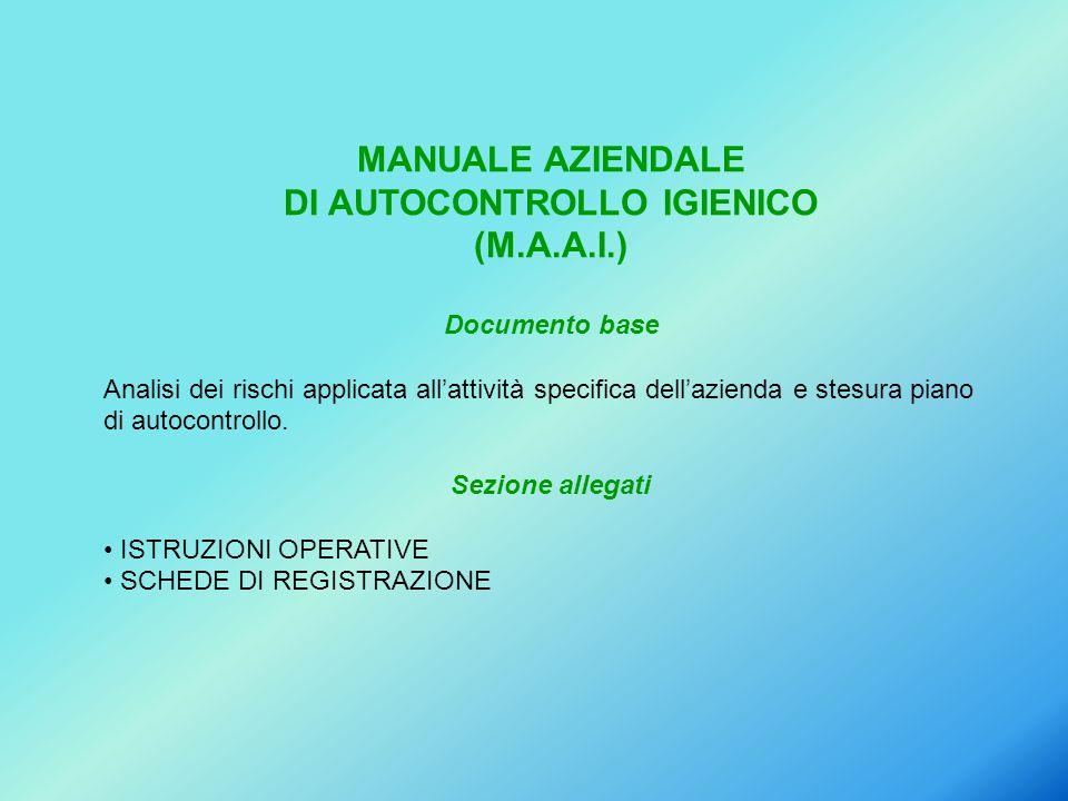 MANUALE AZIENDALE DI AUTOCONTROLLO IGIENICO (M.A.A.I.) Documento base Analisi dei rischi applicata all'attività specifica dell'azienda e stesura piano