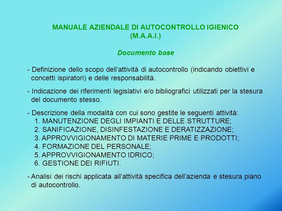 MANUALE AZIENDALE DI AUTOCONTROLLO IGIENICO (M.A.A.I.) Documento base - Definizione dello scopo dell'attività di autocontrollo (indicando obiettivi e