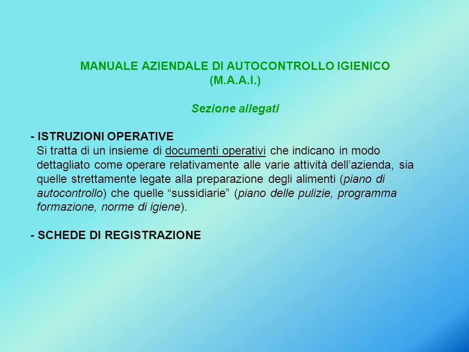 MANUALE AZIENDALE DI AUTOCONTROLLO IGIENICO (M.A.A.I.) Sezione allegati - ISTRUZIONI OPERATIVE Si tratta di un insieme di documenti operativi che indi