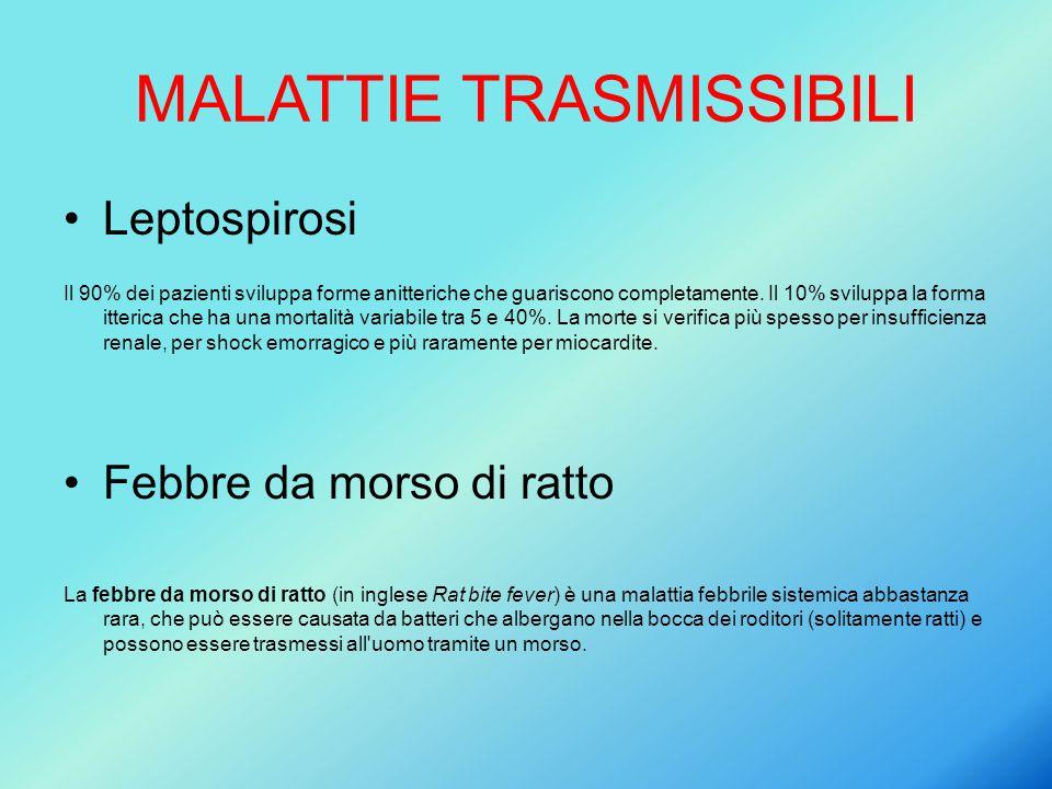 MALATTIE TRASMISSIBILI Leptospirosi Il 90% dei pazienti sviluppa forme anitteriche che guariscono completamente. Il 10% sviluppa la forma itterica che