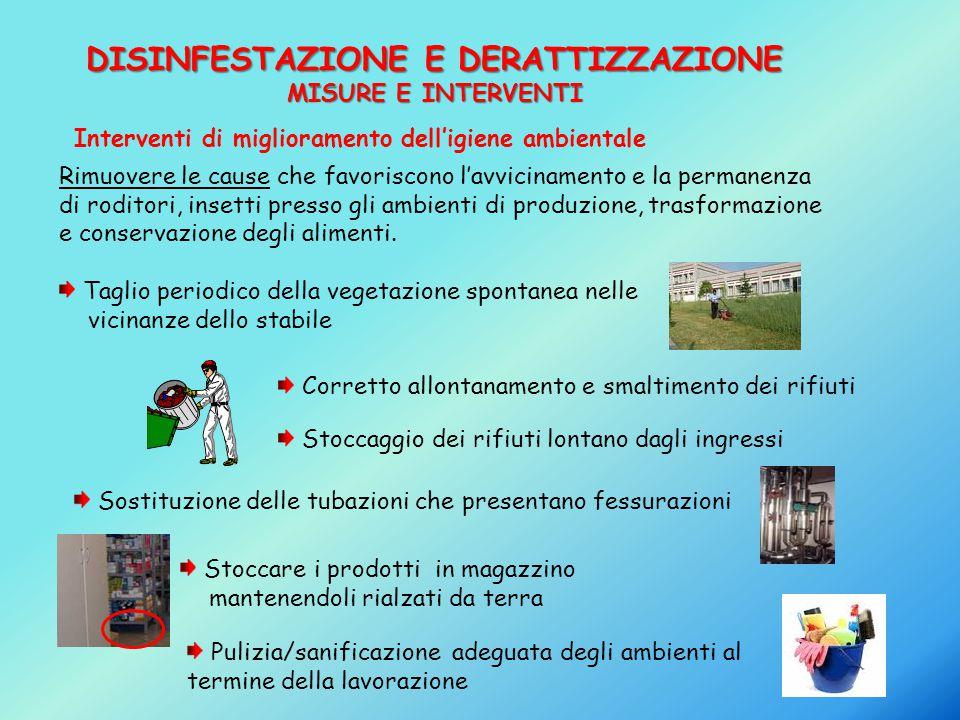 DISINFESTAZIONE E DERATTIZZAZIONE MISURE E INTERVENTI Interventi di miglioramento dell'igiene ambientale Rimuovere le cause che favoriscono l'avvicina