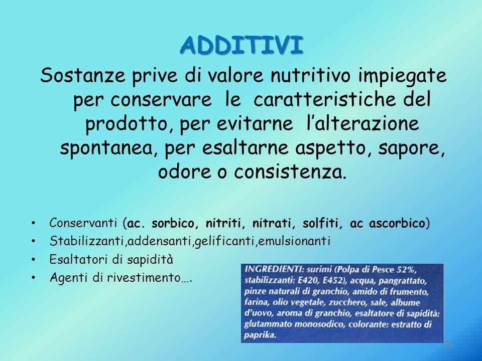 54 ADDITIVI Sostanze prive di valore nutritivo impiegate per conservare le caratteristiche del prodotto, per evitarne l'alterazione spontanea, per esa