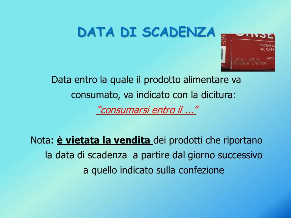 """DATA DI SCADENZA Data entro la quale il prodotto alimentare va consumato, va indicato con la dicitura: """"consumarsi entro il..."""" Nota: è vietata la ven"""