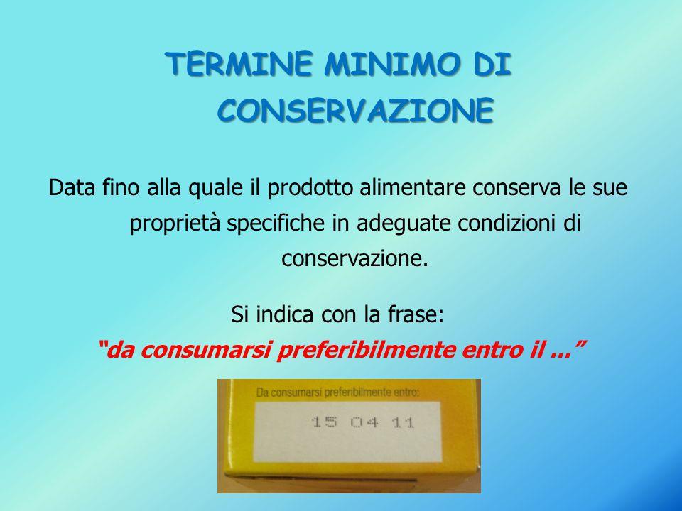 TERMINE MINIMO DI CONSERVAZIONE Data fino alla quale il prodotto alimentare conserva le sue proprietà specifiche in adeguate condizioni di conservazio