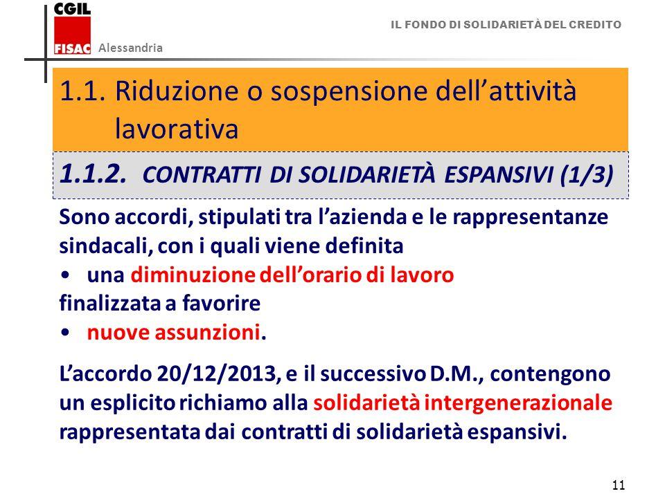 IL FONDO DI SOLIDARIETÀ DEL CREDITO Alessandria 11 1.1.Riduzione o sospensione dell'attività lavorativa 1.1.2.