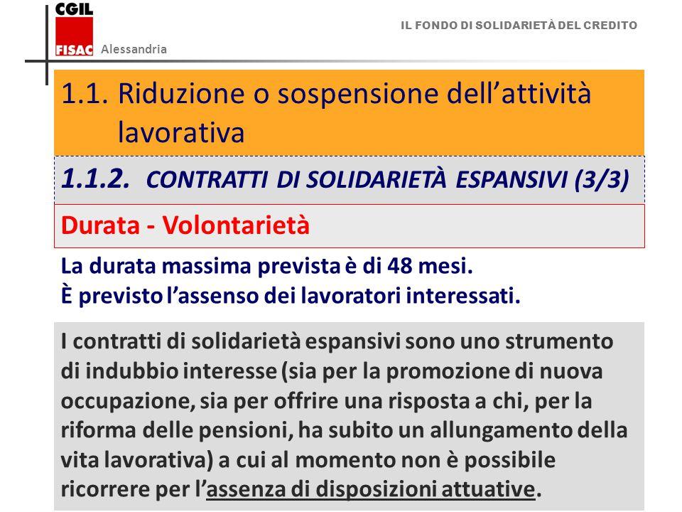 IL FONDO DI SOLIDARIETÀ DEL CREDITO Alessandria 13 1.1.Riduzione o sospensione dell'attività lavorativa 1.1.2.