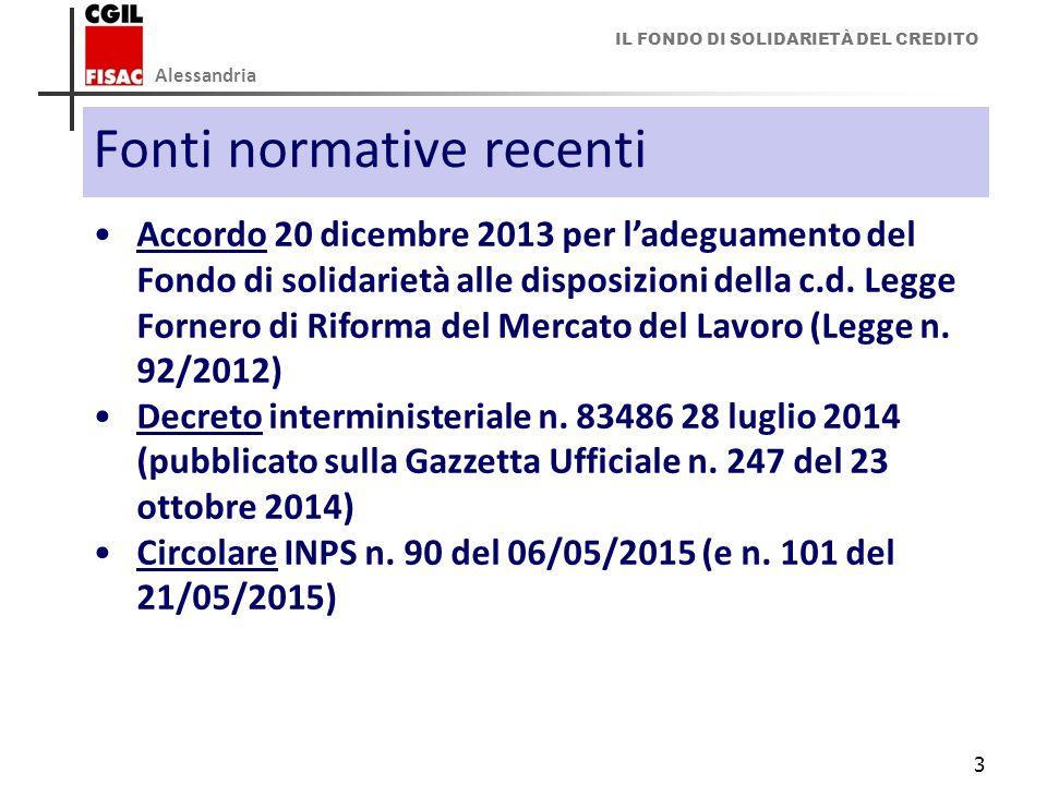 IL FONDO DI SOLIDARIETÀ DEL CREDITO Alessandria 3 Fonti normative recenti Accordo 20 dicembre 2013 per l'adeguamento del Fondo di solidarietà alle dis
