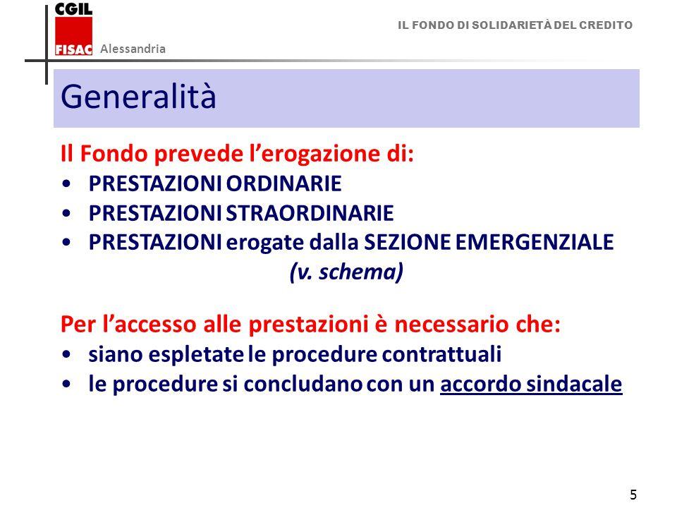 IL FONDO DI SOLIDARIETÀ DEL CREDITO Alessandria 5 Generalità Il Fondo prevede l'erogazione di: PRESTAZIONI ORDINARIE PRESTAZIONI STRAORDINARIE PRESTAZIONI erogate dalla SEZIONE EMERGENZIALE (v.