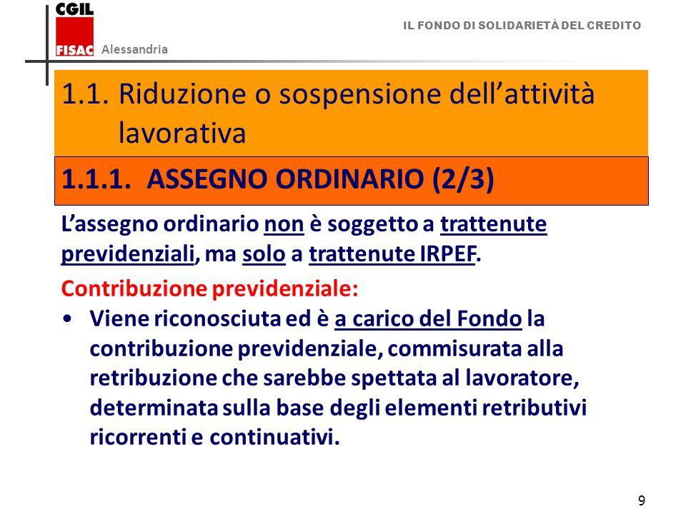 IL FONDO DI SOLIDARIETÀ DEL CREDITO Alessandria 9 1.1.Riduzione o sospensione dell'attività lavorativa 1.1.1.ASSEGNO ORDINARIO (2/3) L'assegno ordinario non è soggetto a trattenute previdenziali, ma solo a trattenute IRPEF.