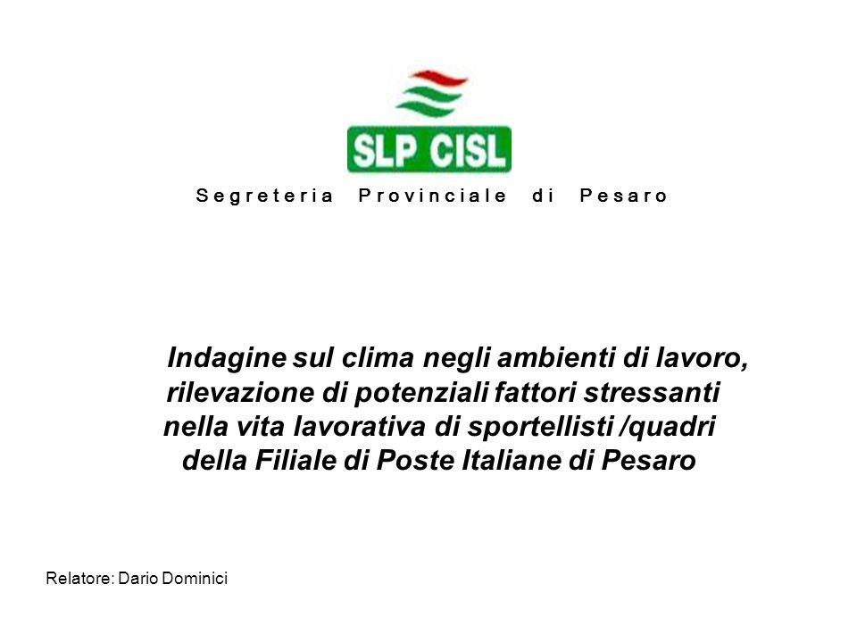 Relatore: Dario Dominici Indagine sul clima negli ambienti di lavoro, rilevazione di potenziali fattori stressanti nella vita lavorativa di sportellis