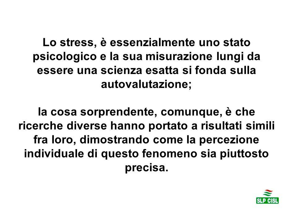 Lo stress, è essenzialmente uno stato psicologico e la sua misurazione lungi da essere una scienza esatta si fonda sulla autovalutazione; la cosa sorp
