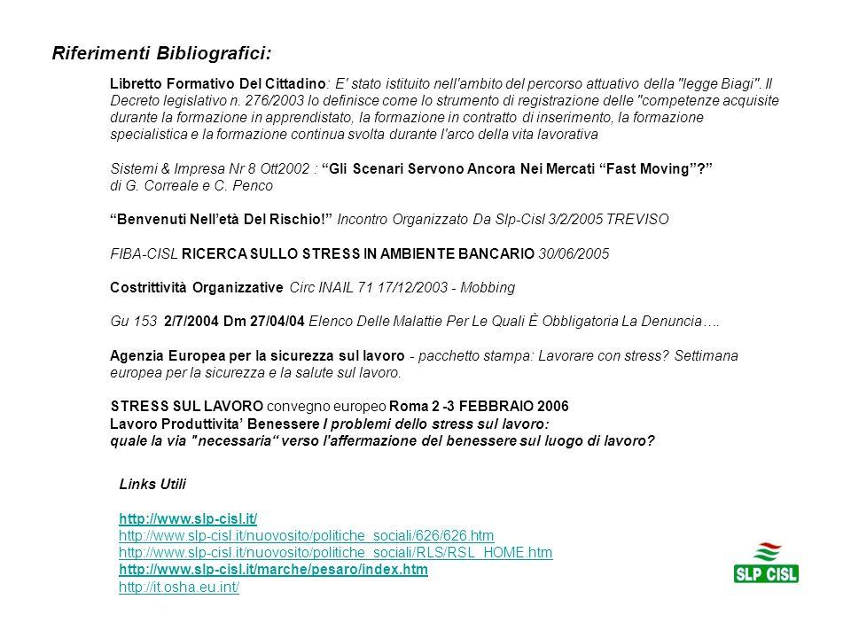 Riferimenti Bibliografici: Libretto Formativo Del Cittadino: E stato istituito nell ambito del percorso attuativo della legge Biagi .