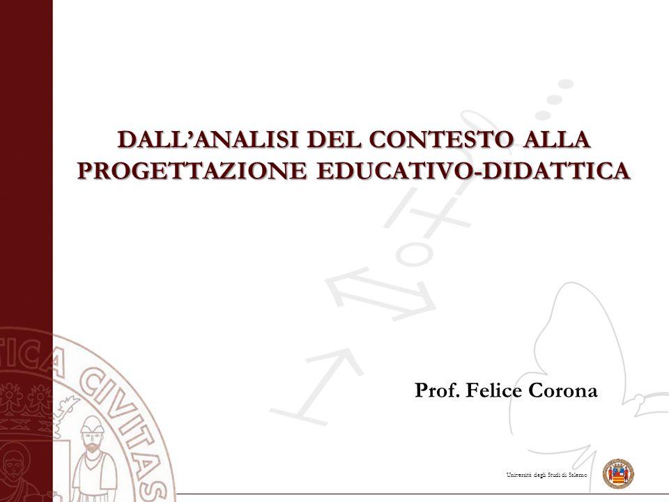 Università degli Studi di Salerno Dall'analisi del contesto alla progettazione educativo-didattica Analisi culturale, sociale ed ambientale La scuola persegue una doppia linea formativa: verticale e orizzontale.