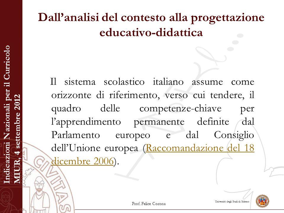 Università degli Studi di Salerno Dall'analisi del contesto alla progettazione educativo-didattica Il sistema scolastico italiano assume come orizzont