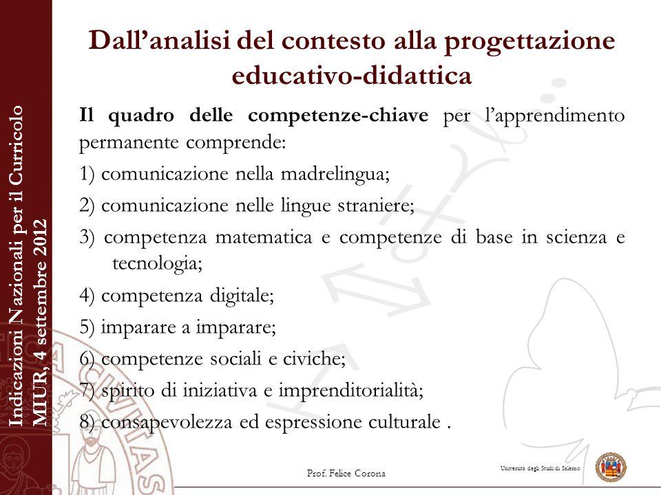 Università degli Studi di Salerno Dall'analisi del contesto alla progettazione educativo-didattica Il quadro delle competenze-chiave per l'apprendimen