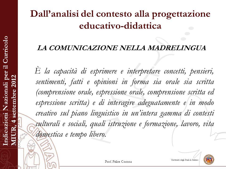 Università degli Studi di Salerno Dall'analisi del contesto alla progettazione educativo-didattica LA COMUNICAZIONE NELLA MADRELINGUA È la capacità di