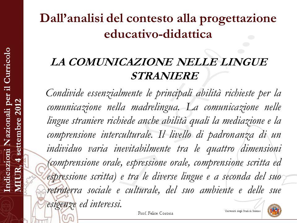 Università degli Studi di Salerno Dall'analisi del contesto alla progettazione educativo-didattica LA COMUNICAZIONE NELLE LINGUE STRANIERE Condivide e