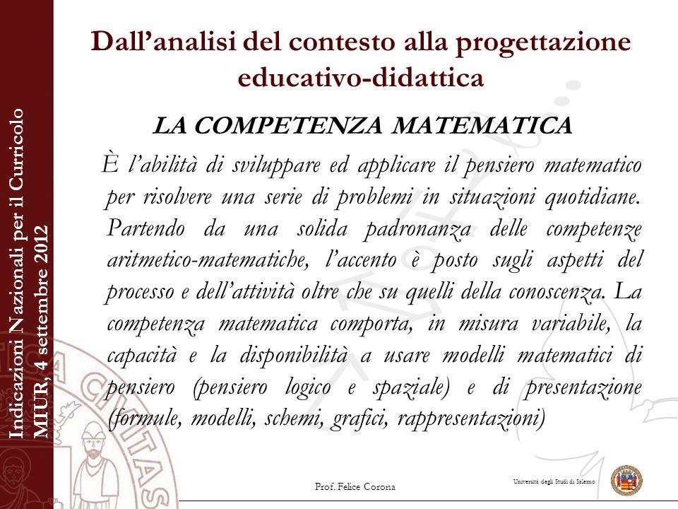 Università degli Studi di Salerno Dall'analisi del contesto alla progettazione educativo-didattica LA COMPETENZA MATEMATICA È l'abilità di sviluppare