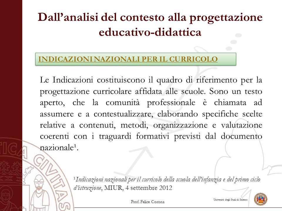 Università degli Studi di Salerno Dall'analisi del contesto alla progettazione educativo-didattica Le Indicazioni costituiscono il quadro di riferimen