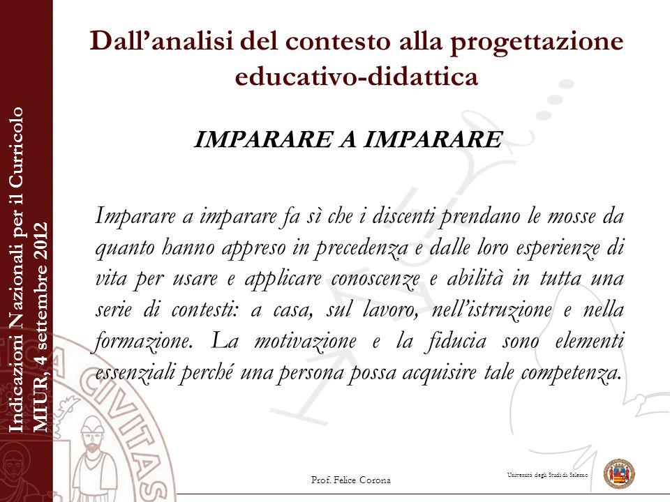 Università degli Studi di Salerno Dall'analisi del contesto alla progettazione educativo-didattica IMPARARE A IMPARARE Imparare a imparare fa sì che i