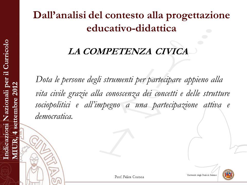Università degli Studi di Salerno Dall'analisi del contesto alla progettazione educativo-didattica LA COMPETENZA CIVICA Dota le persone degli strument