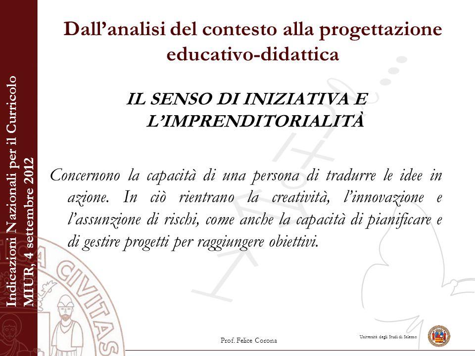 Università degli Studi di Salerno Dall'analisi del contesto alla progettazione educativo-didattica IL SENSO DI INIZIATIVA E L'IMPRENDITORIALITÀ Concer