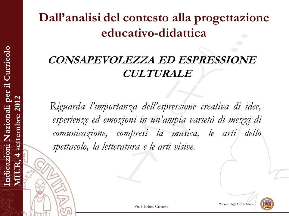 Università degli Studi di Salerno Dall'analisi del contesto alla progettazione educativo-didattica CONSAPEVOLEZZA ED ESPRESSIONE CULTURALE Riguarda l'