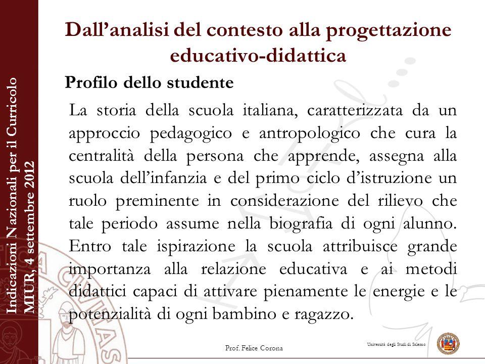 Università degli Studi di Salerno Dall'analisi del contesto alla progettazione educativo-didattica Profilo dello studente La storia della scuola itali