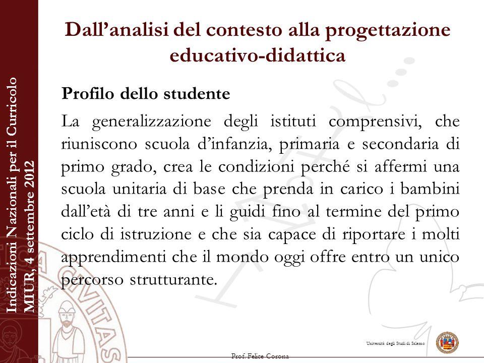 Università degli Studi di Salerno Dall'analisi del contesto alla progettazione educativo-didattica Profilo dello studente La generalizzazione degli is
