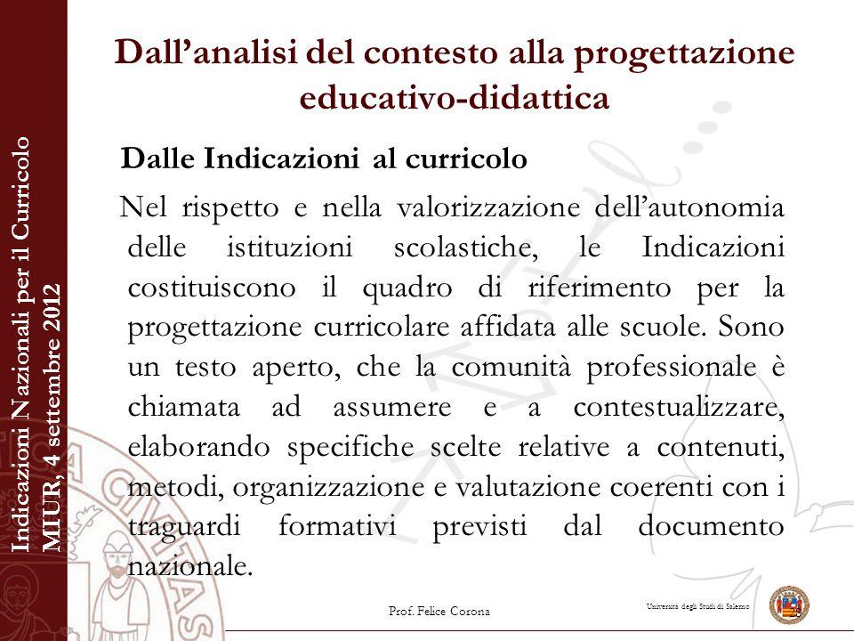 Università degli Studi di Salerno Dall'analisi del contesto alla progettazione educativo-didattica Dalle Indicazioni al curricolo Nel rispetto e nella