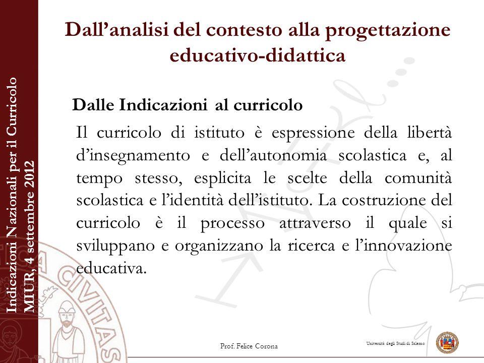 Università degli Studi di Salerno Dall'analisi del contesto alla progettazione educativo-didattica Dalle Indicazioni al curricolo Il curricolo di isti