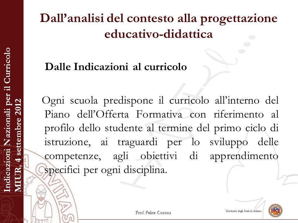 Università degli Studi di Salerno Dall'analisi del contesto alla progettazione educativo-didattica Dalle Indicazioni al curricolo Ogni scuola predispo