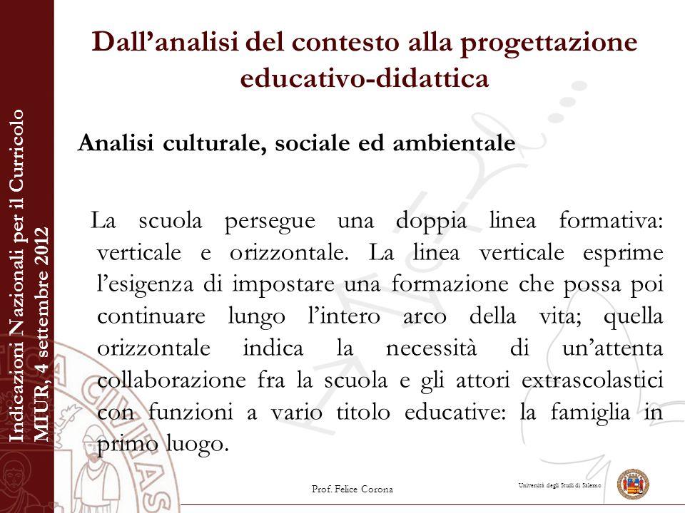 Università degli Studi di Salerno Dall'analisi del contesto alla progettazione educativo-didattica Analisi culturale, sociale ed ambientale La scuola