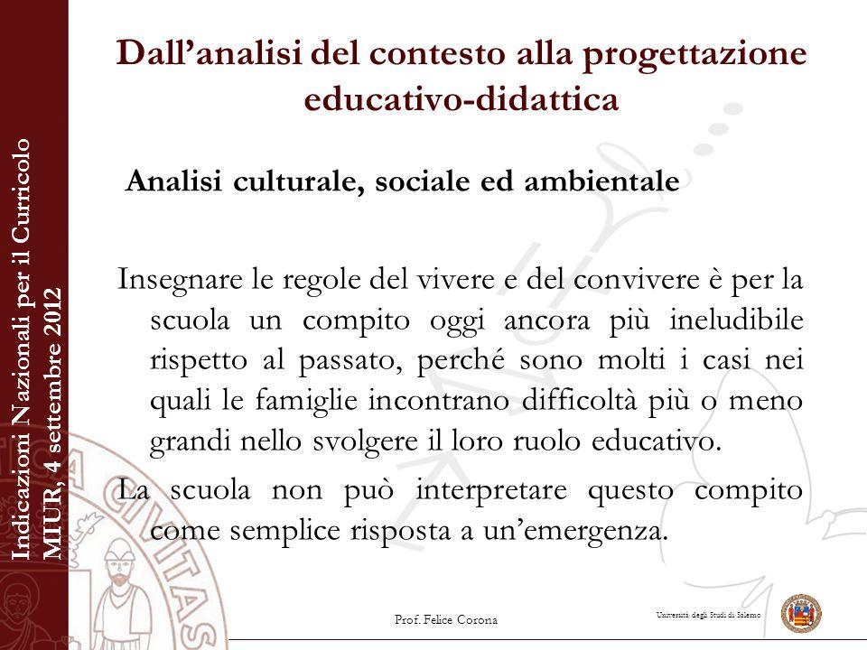 Università degli Studi di Salerno Dall'analisi del contesto alla progettazione educativo-didattica Analisi culturale, sociale ed ambientale Insegnare
