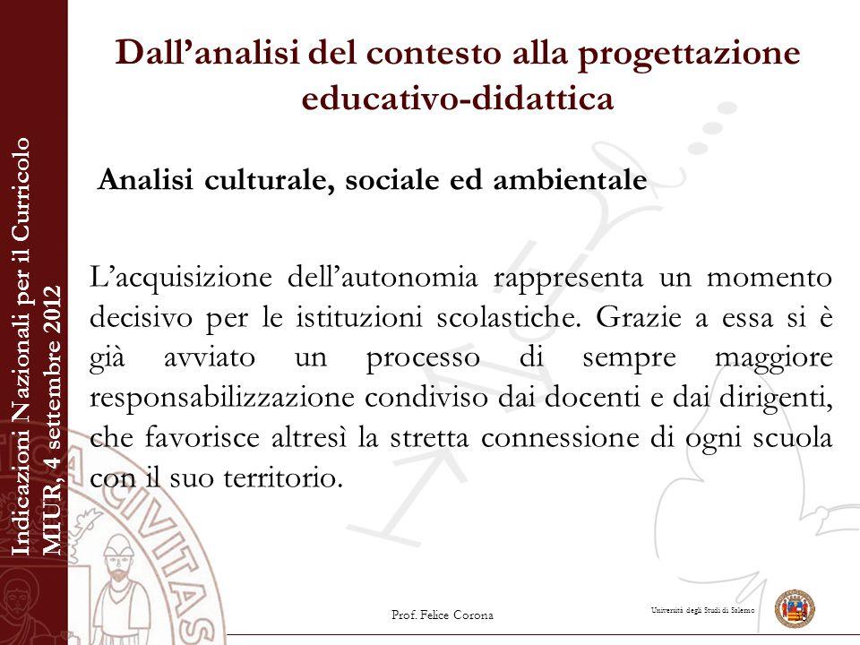 Università degli Studi di Salerno Dall'analisi del contesto alla progettazione educativo-didattica Analisi culturale, sociale ed ambientale L'acquisiz