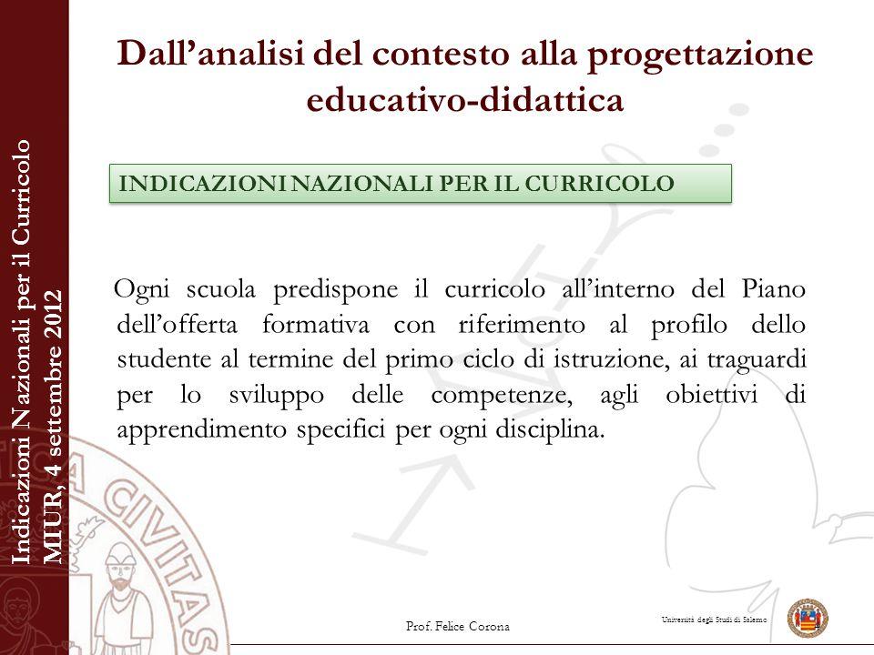 Università degli Studi di Salerno Dall'analisi del contesto alla progettazione educativo-didattica Ogni scuola predispone il curricolo all'interno del