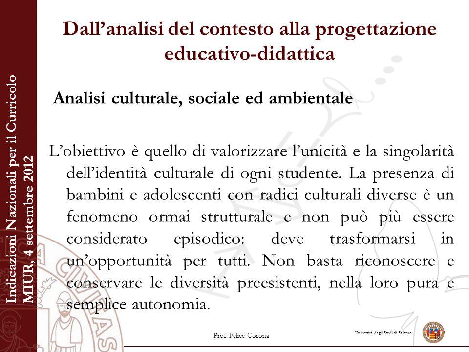 Università degli Studi di Salerno Dall'analisi del contesto alla progettazione educativo-didattica Analisi culturale, sociale ed ambientale L'obiettiv